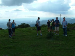 President Horton leads a student hike to Bearwallow Mountain
